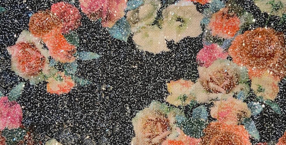 Sequin Roses Viscose Jersey Off Cut