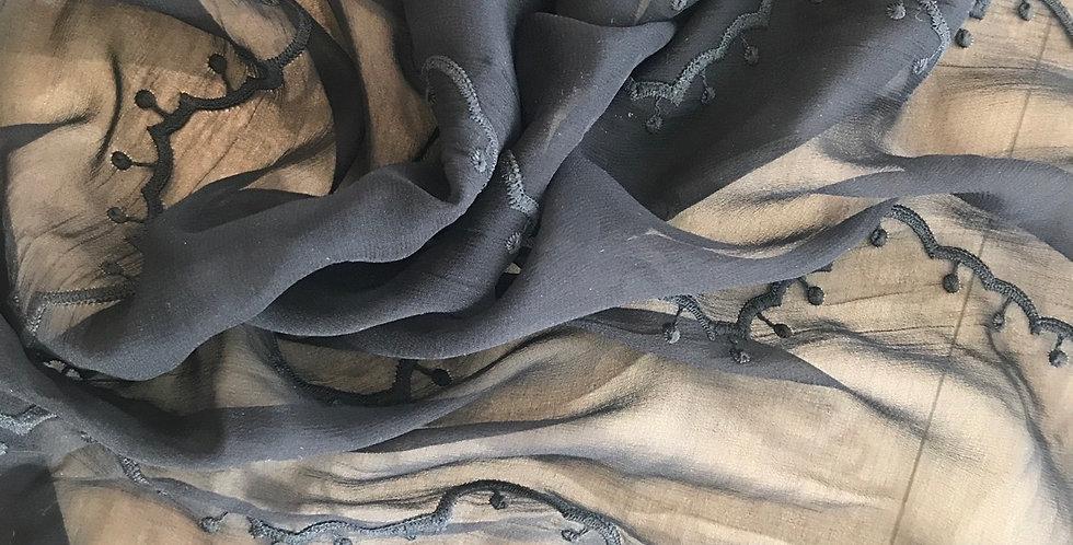 Black scallops embroidered silk chiffon remnant