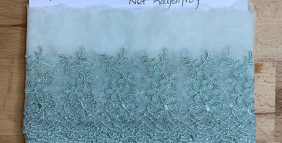 Mint Hand Dyed Embroidered Net