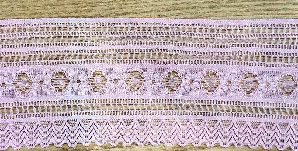 Musk Pink Fine Floral Hand Dyed Stretch Lace...