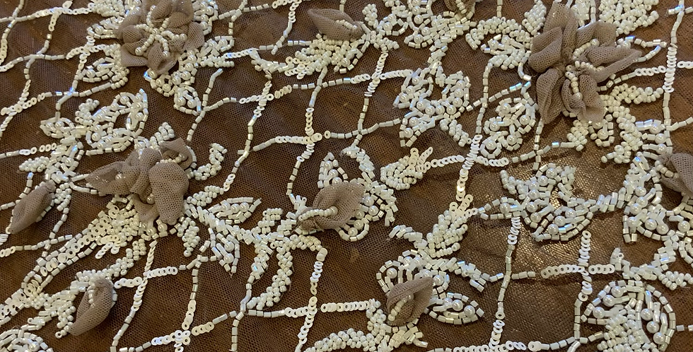 Mocha Hand Dyed Beaded Lace Off Cut #7057