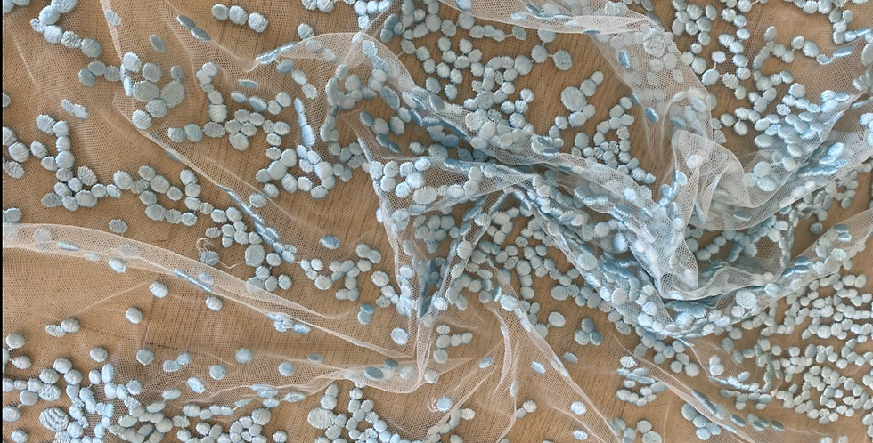 Pale aqua embroidered snow drop lace piece 4