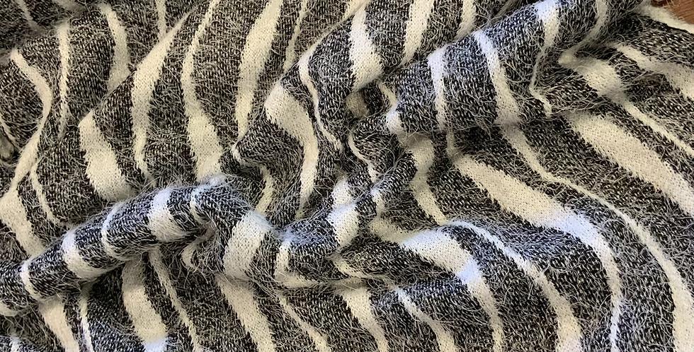 Fluffy Zebra Boucle Knit remnant