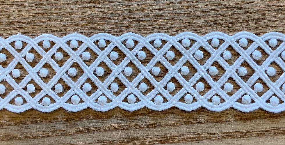White Polka Dot Lattice Cotton Lace...