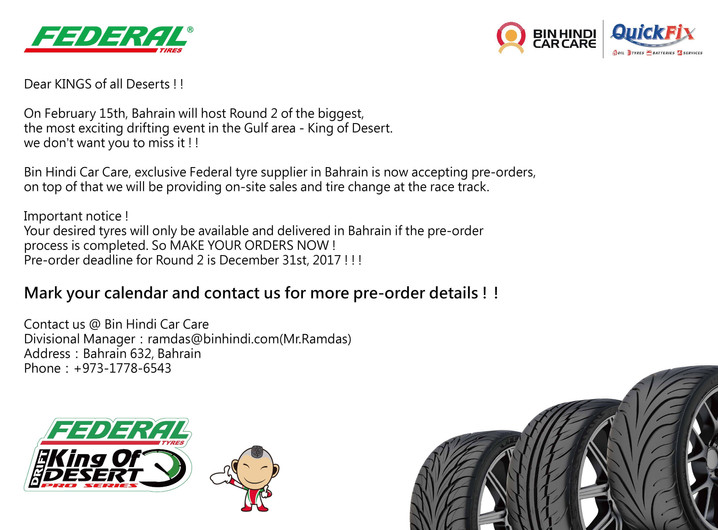 Order your Federal Tyres now for our upcoming round in Bahrain!