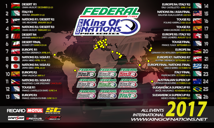 2017 King of Nations and Touge Dates Rescheduled - Calendars Updated