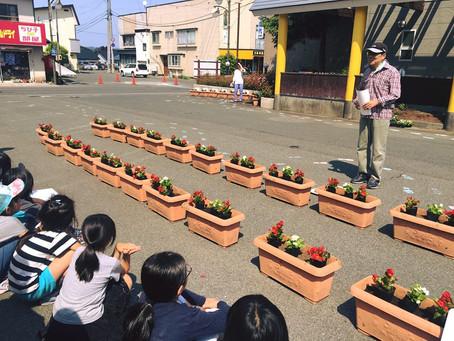 中町1自治会のお花プランターが綺麗に並びました!