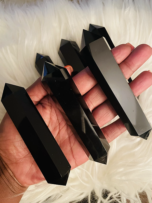 Double Terminated Black Obsidian Point