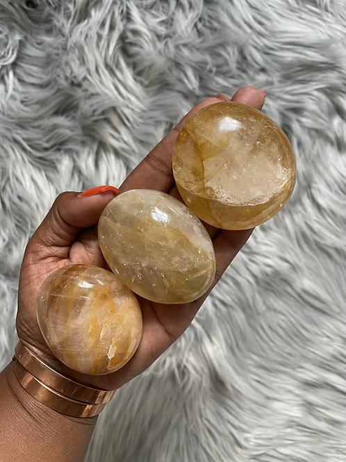 Golden Healer Quartz Palm Stone