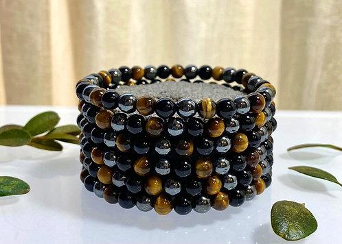 Tiger's Eye, Hematite and Black Onyx Bracelet