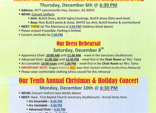 Holiday/Concert Event Info.