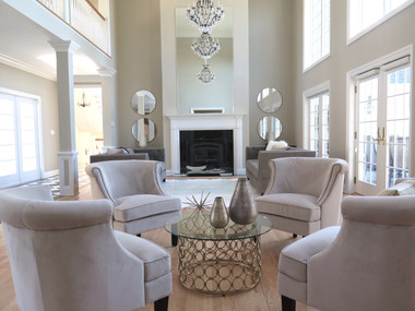 Staged living room in Far Hills, NJ SOLD in 30 days