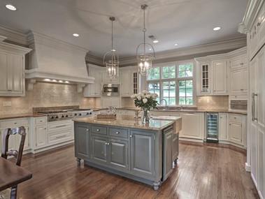 Staged kitchen with cabinet painting in Bernardsville, NJ