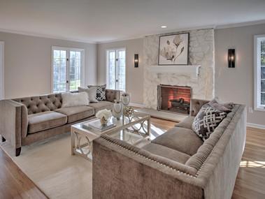 Staged living room in Mendham, NJ