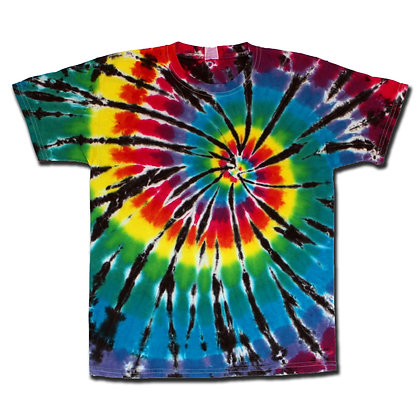 Rainbow Spiral on Black Tee - Youth Med