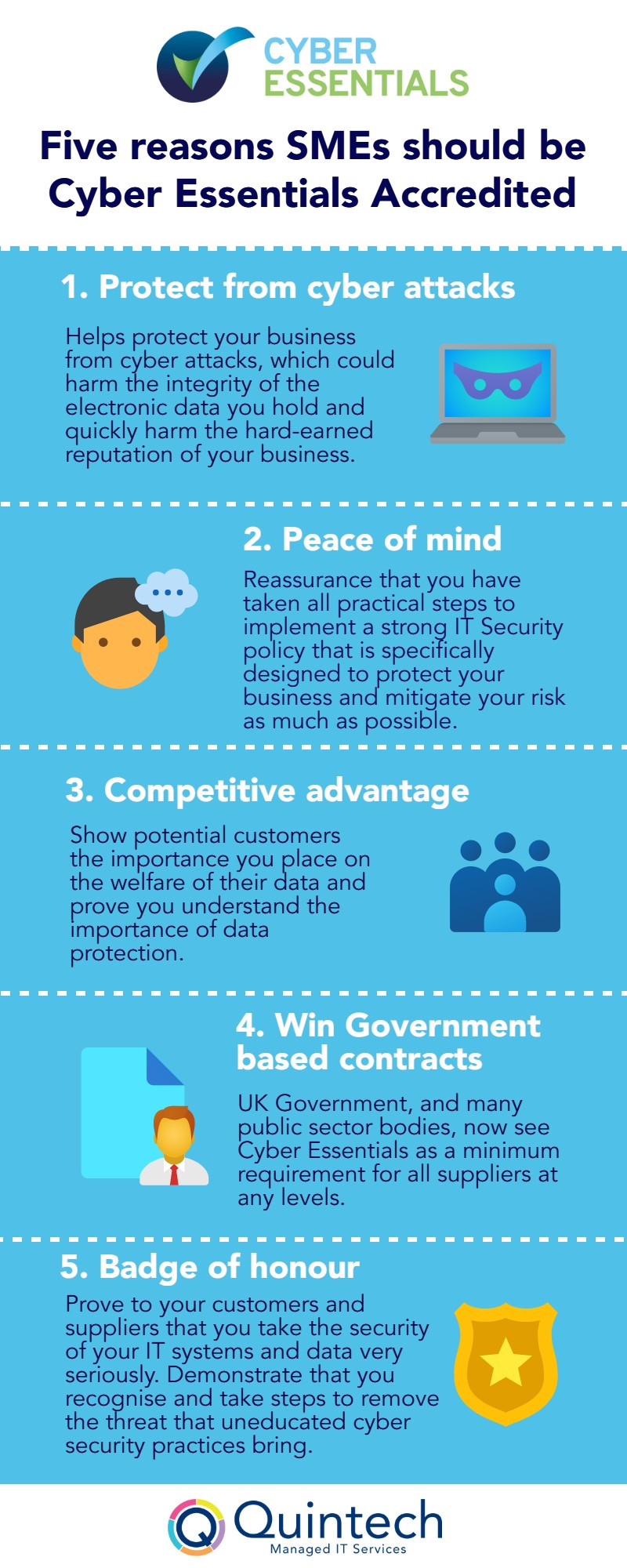 This infographic explains five benefits of gaining the Cyber Essentials Accreditation.