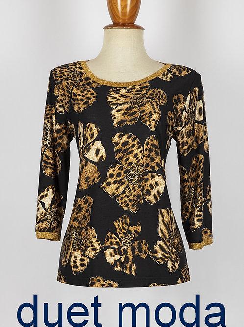Camiseta flor/leopardo