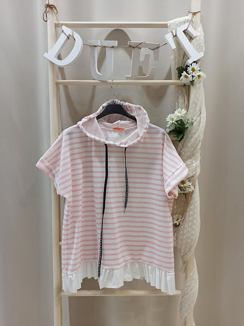 Camiseta de rayas rosa