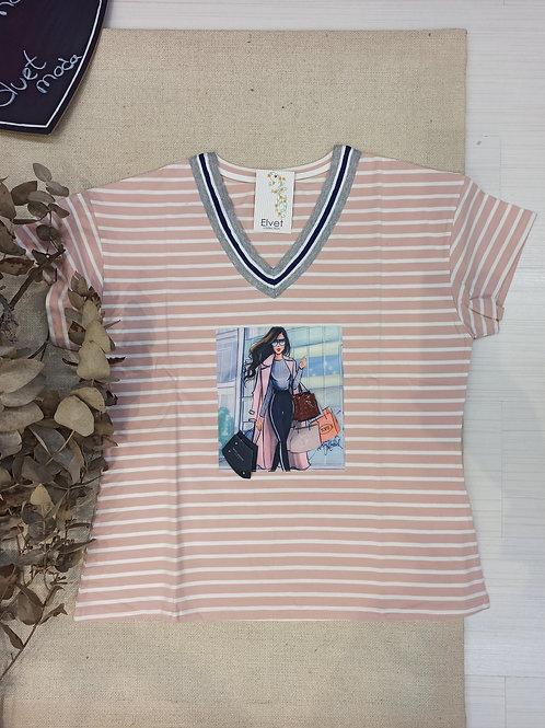 Camiseta  rayas rosa