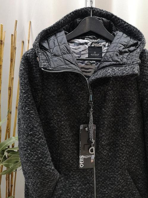 Abrigo gris de capucha
