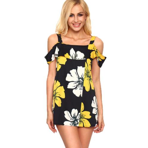 1cfcef268adf Yellow Black off Shoulder dress