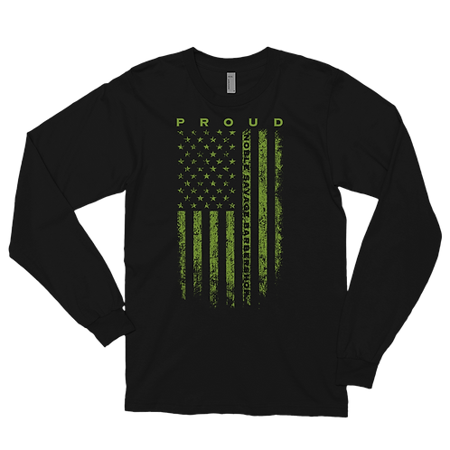 NSB Proud Honoring Military All Green Flag Long sleeve
