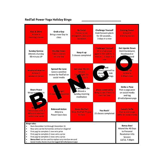 Holiday Bingo Challenge