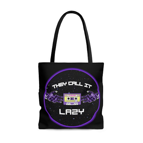 """Black """"They Call It Lazy"""" Music- Tote Bag"""