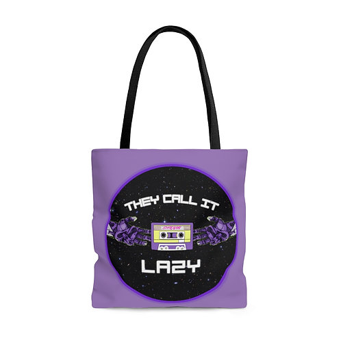 """Purple """"They Call It Lazy"""" Music- Tote Bag"""