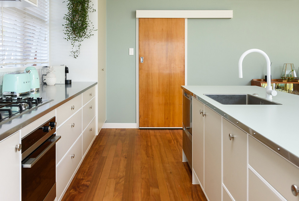 Island top: Formica Indian Sage Velour with Stainless Steel edging and pan head screws