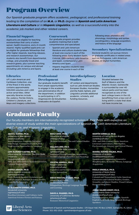 Spanish and Portuguese Studies Graduate Program: Fold-Out Poster (2/2)