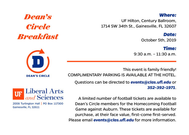 Dean's Circle Breakfast Invitation Card (2/2)