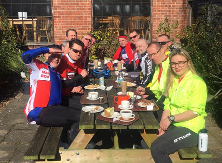 11 riders to Southwell garden Centre!