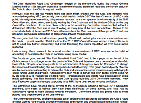 Mansfield Road Club Press Release!