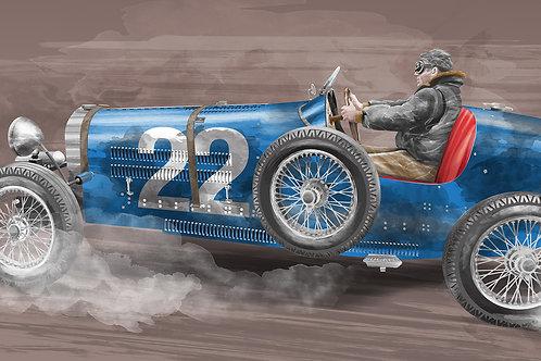 Bugatti bleue - Race car