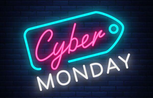Logo Cyber Monday en tubes néon lumineux
