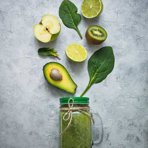 Healthy green smoothie in mason jar and ingredients. Superfoods, detox, diet, healthy food. Lime, apple, spinach, avocado and lime.jpg