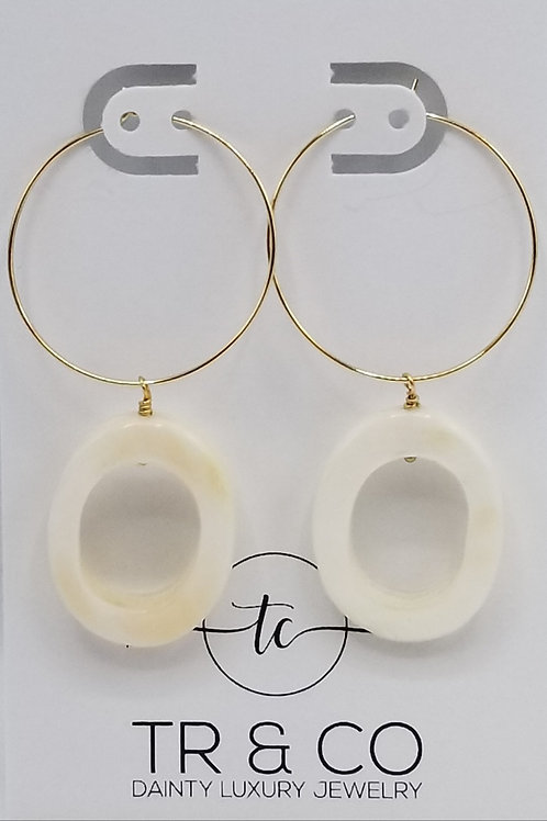 Gold Hoop Earring with Mother Pearl Circle Earring