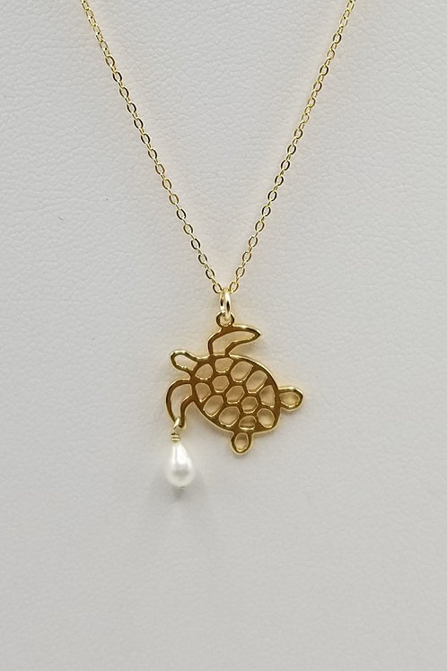 Turtle with Freswater Pearl Necklace