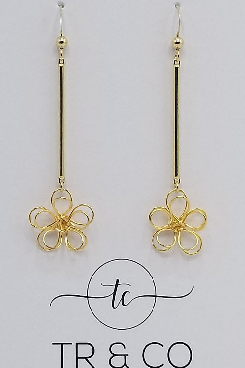 Gold 3D Flower Dangle Earring