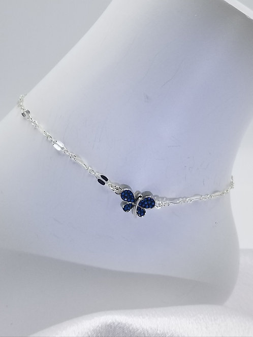 Blue Crystal Butterfly Anklet