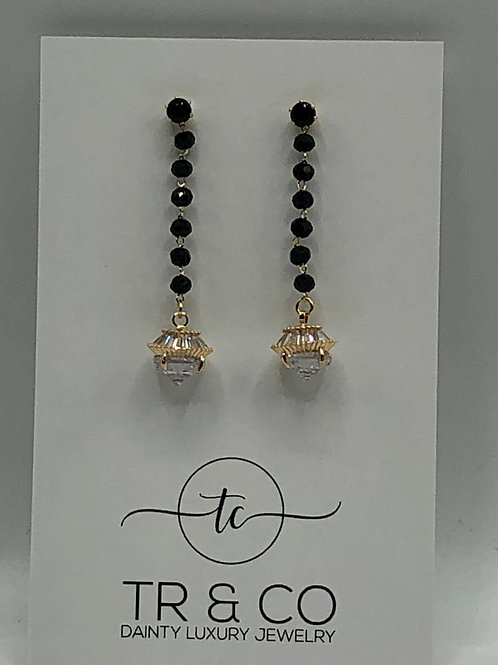 Black Crystal with CZ Earring