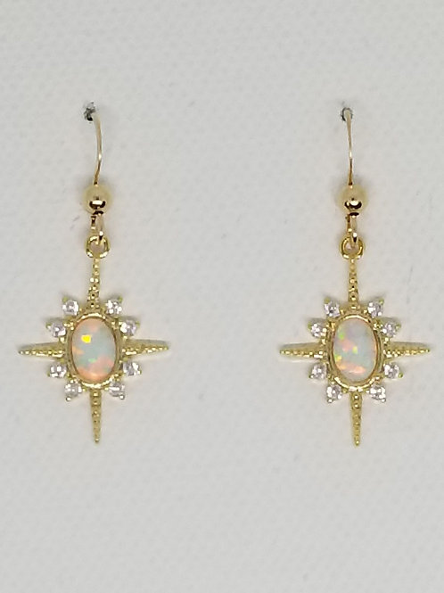 Starburst Lab Opal Cz Earring