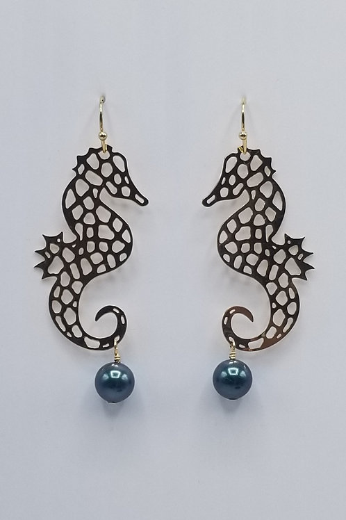 Seahorse with Swarovski Pearl