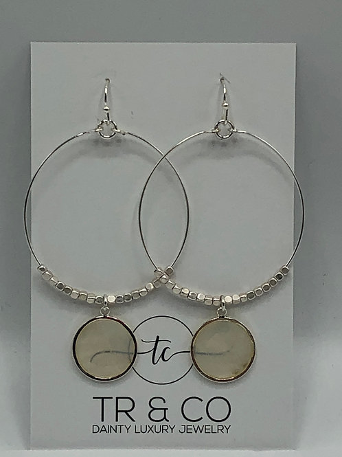 Silver Hoop Glass Moonstone Earring