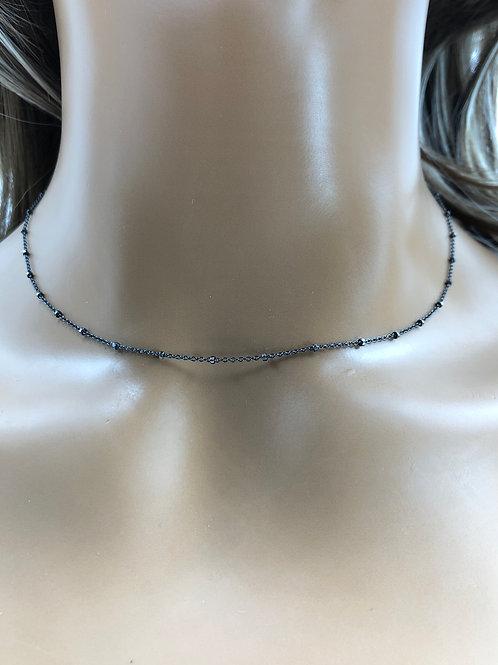 Oxdized Silver Satelite Chain Necklace