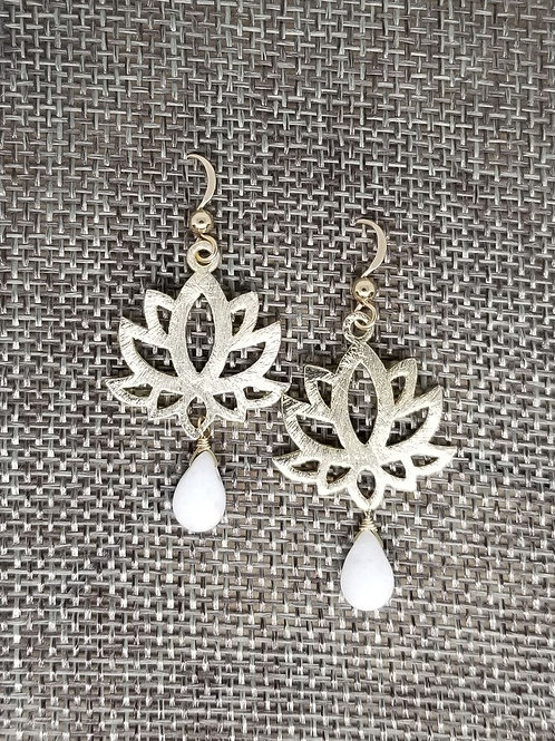 Lotus Flower White Jade Earring