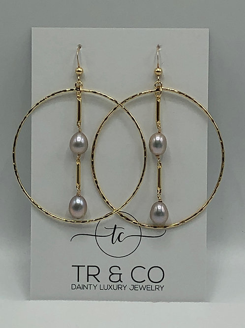 Gold Hoop with Pearls Earring