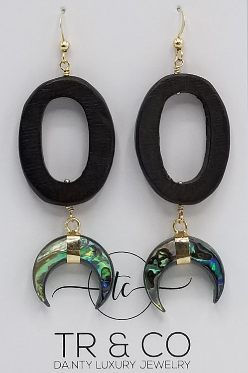 African Wood with Abalone Crescent Moon Earring