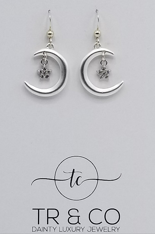 Matte Silver Moons and Crystal Star Earring